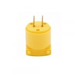 15 Amp Straight Blade Plug, 2-Pole, 2-Wire, #18-12 AWG, 125V, Yellow