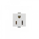 15 Amp Snap-In Plug w/ Steel Clips, 2-Pole, 3-Wire, 125V, White