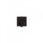 15 Amp Snap-In Plug w/ Clips, 2-Pole, 3-Wire, #14-12 AWG, 125V, Black