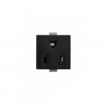 15 Amp Snap-In Plug w/ Plastic Clips, 2-Pole, 3-Wire, #14-12 AWG, 125V, Black