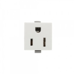 NEMA 5-15R Snap-in Receptacle, Plastic Back, Wire Leads, White