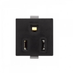 NEMA 5-15R Snap-in Receptacle, Plastic Back, Screw Terminal Ground, Black