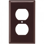 Standard Size Duplex Receptacle Nylon Wallplate, Brown