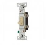 15 Amp Toggle Switch, CO/ALR, Standard,Single Pole, Ivory