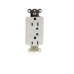 15 Amp Duplex Receptacle w/ LED Indicator, 2-Pole, 3-Wire, 125V, White