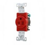 15 Amp Single Receptacle, Industrial, Red