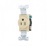 15 Amp Single Receptacle, Industrial, Ivory