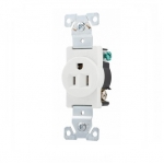 15 Amp Single Receptacle, Industrial, White