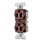 15 Amp Dual Controlled Duplex Receptacle, 2-Pole, #14-10 AWG, 125V, Brown