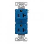 20 Amp Duplex Receptacle Outlet, 2-Pole, 3-Wire, 125V, Blue