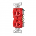 20 Amp Dual Controlled Duplex Receptacle, 2-Pole, #14-10 AWG, 125V, Red