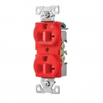 20 Amp Half Controlled Duplex Receptacle, 2-Pole, #14-10 AWG, 125V, Red