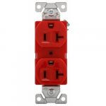 20 Amp Duplex Receptacle Outlet, 2-Pole, 3-Wire, 125V, Red