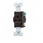 20 Amp NEMA 6-20R 250V Premium Single Receptacle, Brown