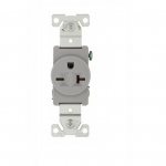 20 Amp NEMA 6-20R 250V Premium Single Receptacle, Gray