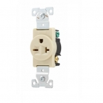 20 Amp NEMA 6-20R 250V Premium Single Receptacle, Ivory