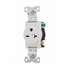 20 Amp NEMA 6-20R 250V Premium Single Receptacle, White