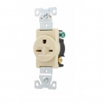 15 Amp NEMA 6-15R 250V Premium Single Receptacle, Ivory