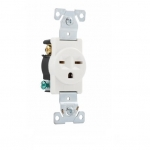 15 Amp NEMA 6-15R 250V Premium Single Receptacle, White
