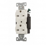 15 Amp 250V Construction Grade Duplex Receptacle, White