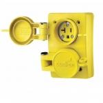 20 Amp NEMA 6-20R 125V Watertight Duplex Receptacle, Yellow