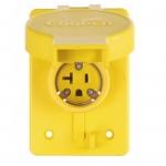 20 Amp NEMA 6-20R 125V Watertight Single Receptacle, Yellow
