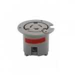 14 Amp Locking Flanged Outlet, 2-Pole, 125V-480V, Gray