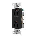 15 Amp Half Controlled Decorator Receptacle, 2-Pole, #14-10 AWG, 125V, Black
