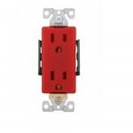 15 Amp Industrial Grade Premium Decorator Duplex Receptacle, Red