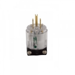 15 Amp Straight Blade Plug w/ Safety Grip, 2-Pole, 3-Wire, #18-12 AWG, 125V, Clear