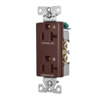20 Amp Dual Controlled Decorator Receptacle, 2-Pole, #14-10 AWG, 125V, Black
