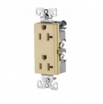 20 Amp Decora Duplex Receptacle, Commercial Grade, Ivory