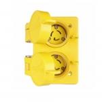15 Amp Watertight Locking Duplex Receptacle, NEMA L7-15, 277V, Yellow