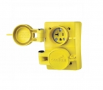 15 Amp Watertight Locking Duplex Receptacle NEMA L5-15 125V, Yellow