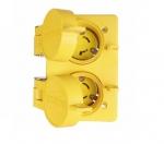 15 Amp Watertight Locking Duplex Receptacle NEMA L6-15 250V, Yellow