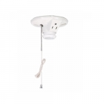 660W Ceiling Lamp Holder w/ Single Receptacle, Medium Base, Porcelain, Pull Chain, White