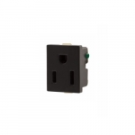 15 Amp Snap-In Single Receptacle w/ Quick Connect, 2-Pole, 3-Wire, 125V, Black
