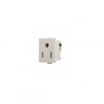15 Amp Snap-In Single Receptacle w/ Quick Connect, 2-Pole, 3-Wire, 125V, White