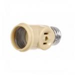 660W NEMA 1-15R Medium Base Socket Adapter w/ Keyless Switch, Ivory