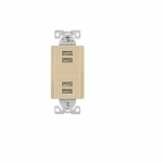5 Amp 4-Port USB Charging Station, Type A, Ivory
