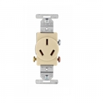 20 Amp Single Outlet, 3-Pole, 3-Wire, 250V, Ivory