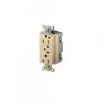 15 Amp Duplex Receptacle w/ LED Indicator & Alarm, 2-Pole, 3-Wire, 125V, Ivory