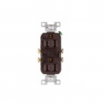 15 Amp Duplex Receptacle, 2-Pole, 3-Wire, #14-10 AWG, 125V, Brown