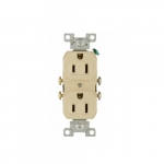 15 Amp Duplex Receptacle, 2-Pole, 3-Wire, #14-10 AWG, 125V, Ivory