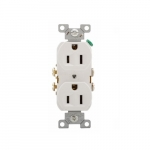 15 Amp Duplex Receptacle, 2-Pole, 3-Wire, #14-10 AWG, 125V, White