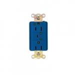 20 Amp Duplex Receptacle w/ LED Indicator & Alarm, 2-Pole, 3-Wire, 125V, Blue