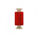 20 Amp Duplex Receptacle w/ LED Indicator & Alarm, 2-Pole, 3-Wire, 125V, Red