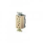 20 Amp Duplex Receptacle w/ LED Indicator & Alarm, 2-Pole, 3-Wire, 125V, Ivory