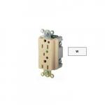 20 Amp Duplex Receptacle w/ LED Indicator & Alarm, 2-Pole, 3-Wire, 125V, White