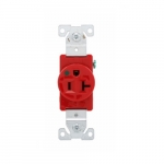 20 Amp Single Receptacle w/ Short Strap Mount, 2-Pole, 3-Wire, #14-10 AWG, 125V, Red